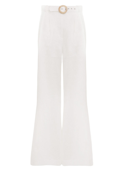 The ZIMMERMANN Honour Slouch Pant in Ivory from the  Summer Swim 2019 Collection is a classic wide leg pant featuring a matching belt with raffia buckle.