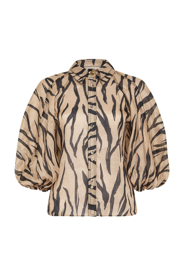 AJE Nouveau Animal Print Button Up Shirt