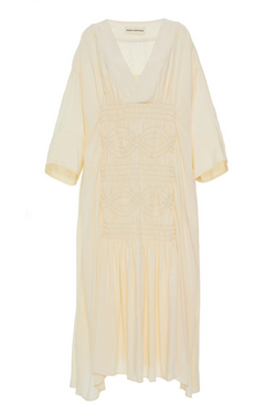 MARA HOFFMAN Benecia Smocked Georgette Caftan Dress