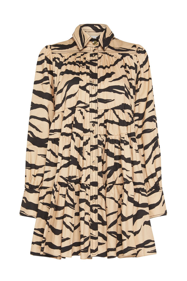 AJE Nouveau Animal Print Shirt Dress