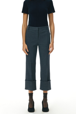 TIBI Camille Check High Cuffed Hem Cropped Pants
