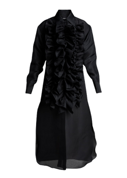 CHRISTOPHER JOHN ROGERS Tuxedo Ruffle Shirtdress - Black