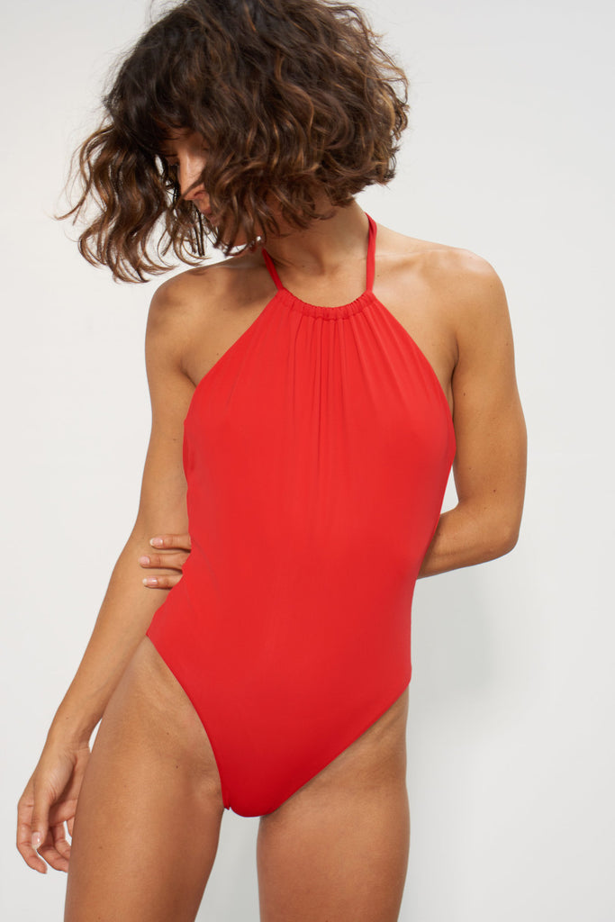 MARA HOFFMAN Dominique One Piece Swimsuit w/ Gathered Neck