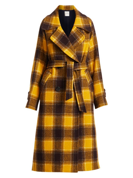SEA Amber Plaid Belted Coat - Yellow