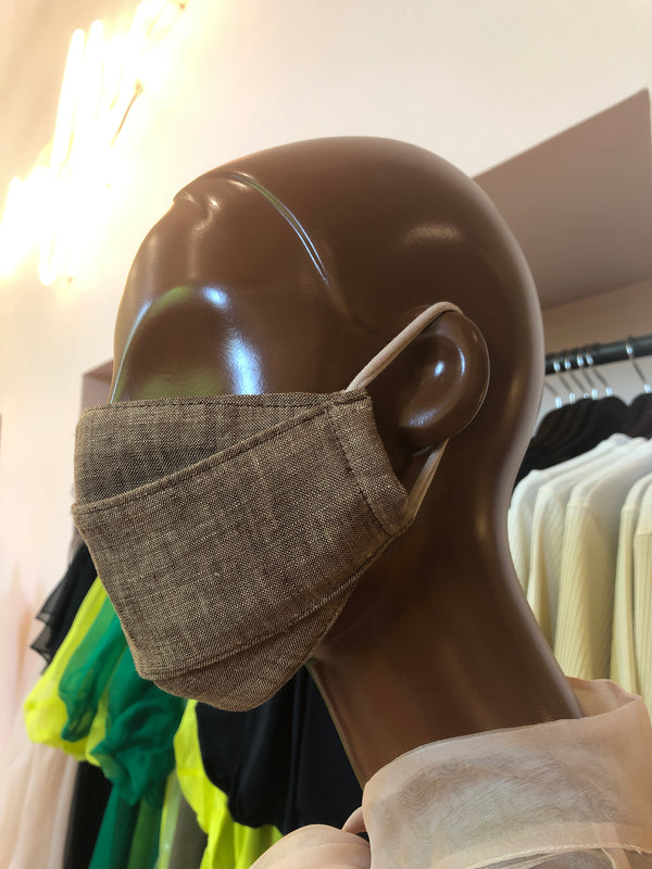 MCMULLEN Brown Linen Face Mask (The Tonal Collection)