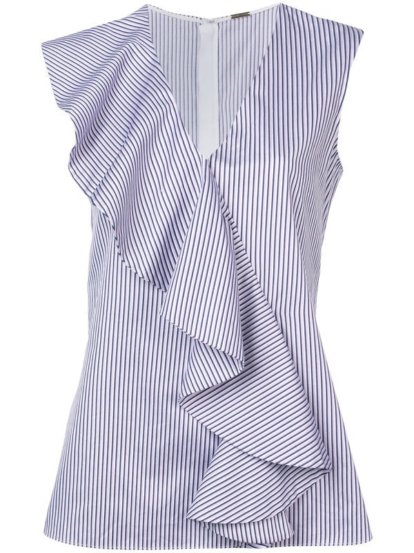 Adam Lippes Striped Cotton SL Vneck Ruffle Top