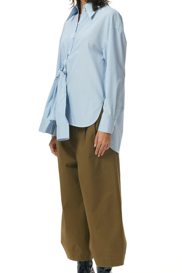 TIBI Isabelle Shirting Shirt Sleeve Tie Top