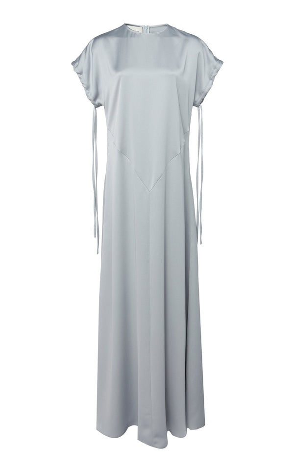 CÉDRIC CHARLIER Silk Satin Cap Sleeve Dress