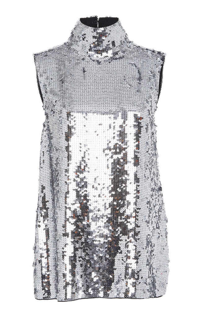 Tibi Turtleneck sequin shell