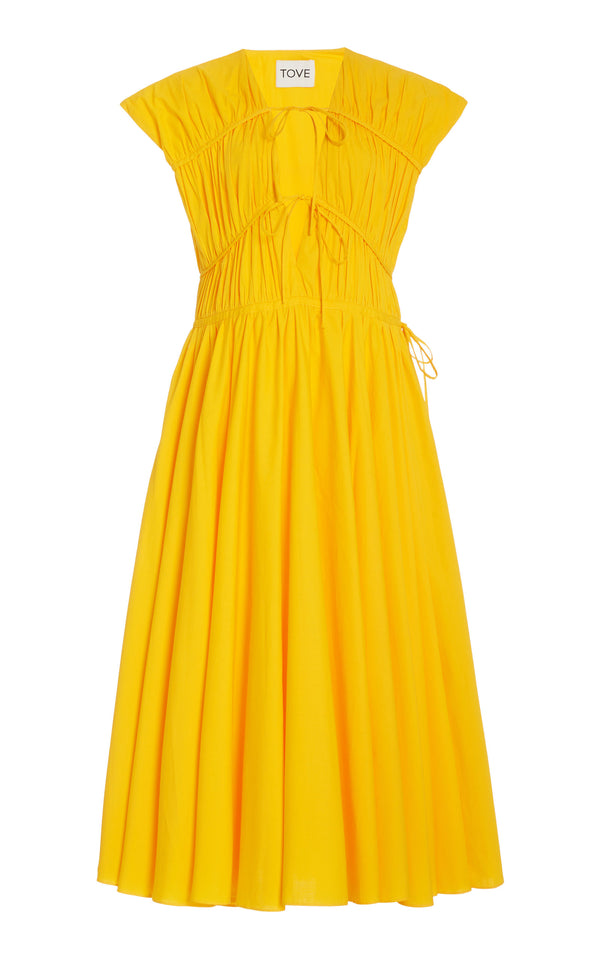 TOVE Ceres Gathered Midi Dress