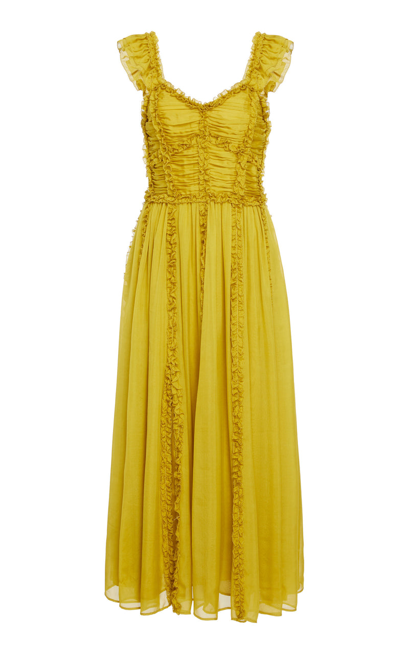 ULLA JOHNSON Florence Dress - Chartreuse