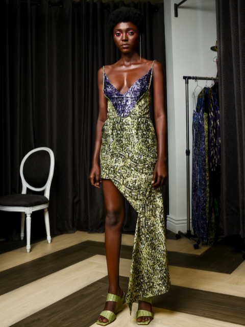 LISA FOLAWIYO Antique Baroque Asymmetric Dress (PRE-ORDER)