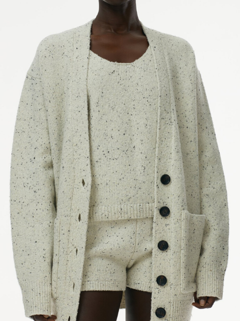 TIBI Eco Tweedy Knit Easy Cardigan - White Melange