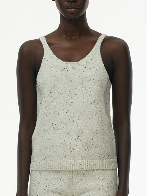 TIBI Eco Tweedy Sweater Cami - White Melange