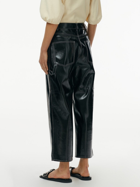 TIBI Faux Patent Leather Cropped Carpenter Pant - Black