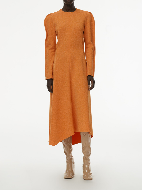 TIBI Speckled Knit Origami Dress - Orange