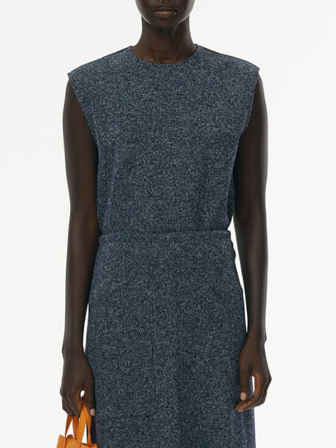 TIBI Speckled Knit Tank Top - Navy Melange