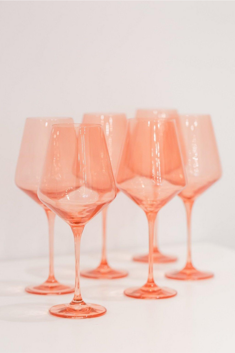 Estelle Colored Glass Wine Stemware Set - Coral Peach Pink