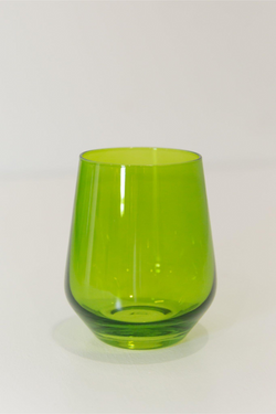 Estelle Colored Glass Wine Stemless Set - Forest Green