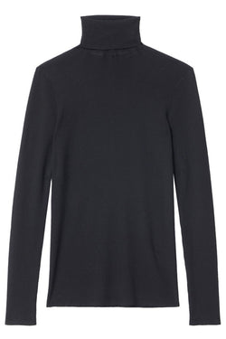 TIBI Feather Weight Ribbed Turtleneck - Black