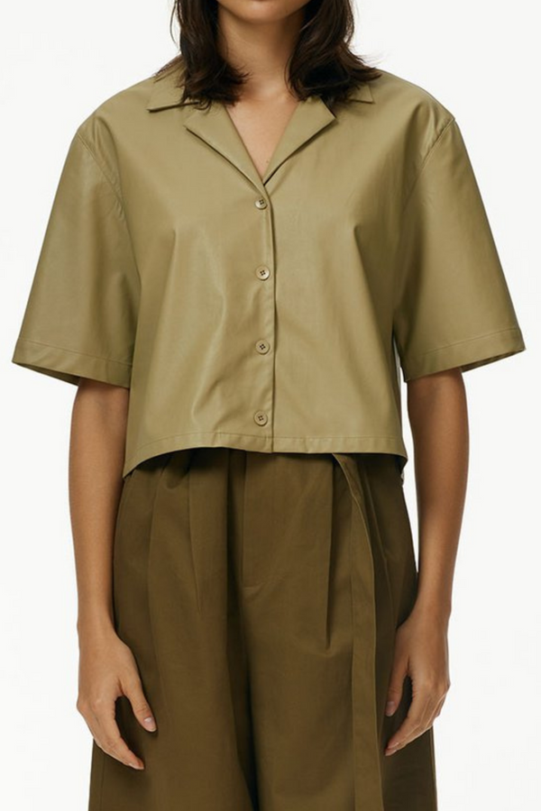 TIBI Tissue Faux Leather Short Sleeve Top