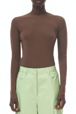 TIBI Feather Weight Ribbed Crewneck Pullover - Wood