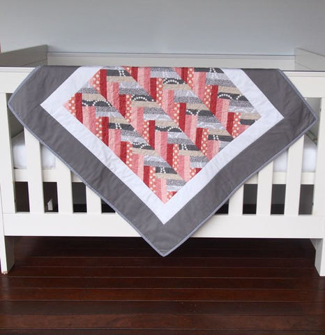 Baby Quilt - Chevron Grey White Peach