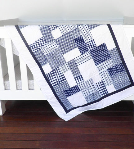 Baby Quilt - Navy & White - Cot Quilt