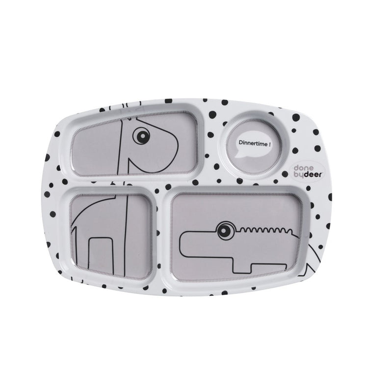 HAPPY DOTS COMPARTMENT PLATE - GREY