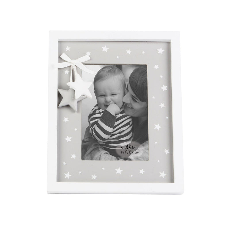 GREY & WHITE STAR PHOTO FRAME