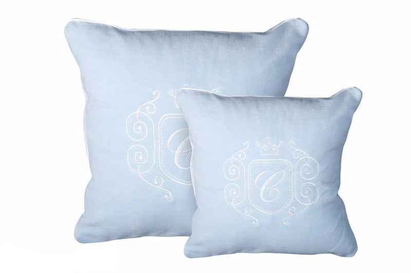 AZURE VELOUR PILLOW WITH EMBLEM
