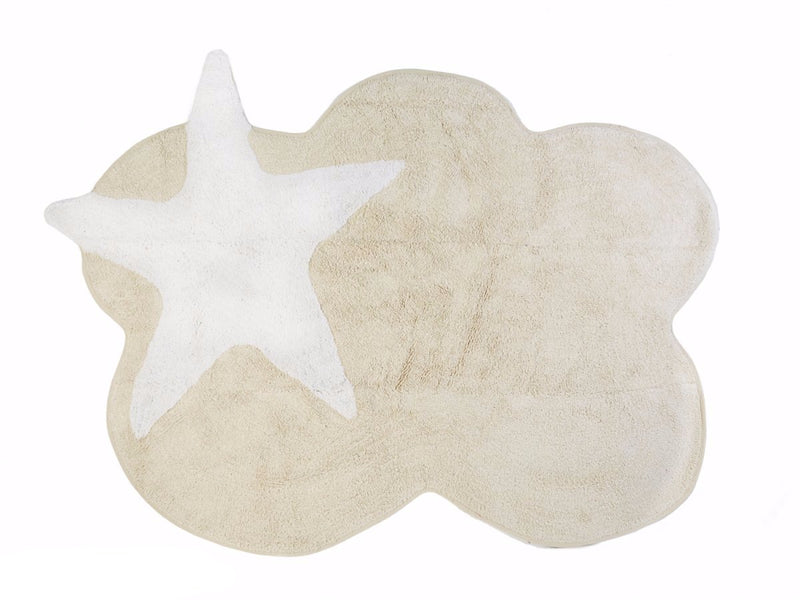 BEIGE CLOUD RUG WITH WHITE STAR