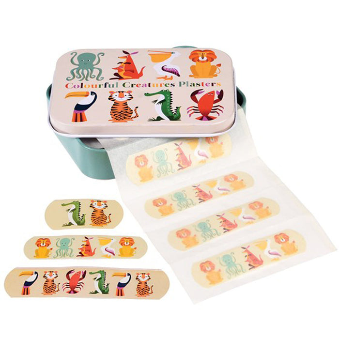 COLORFUL CREATURES PLASTERS IN A TIN