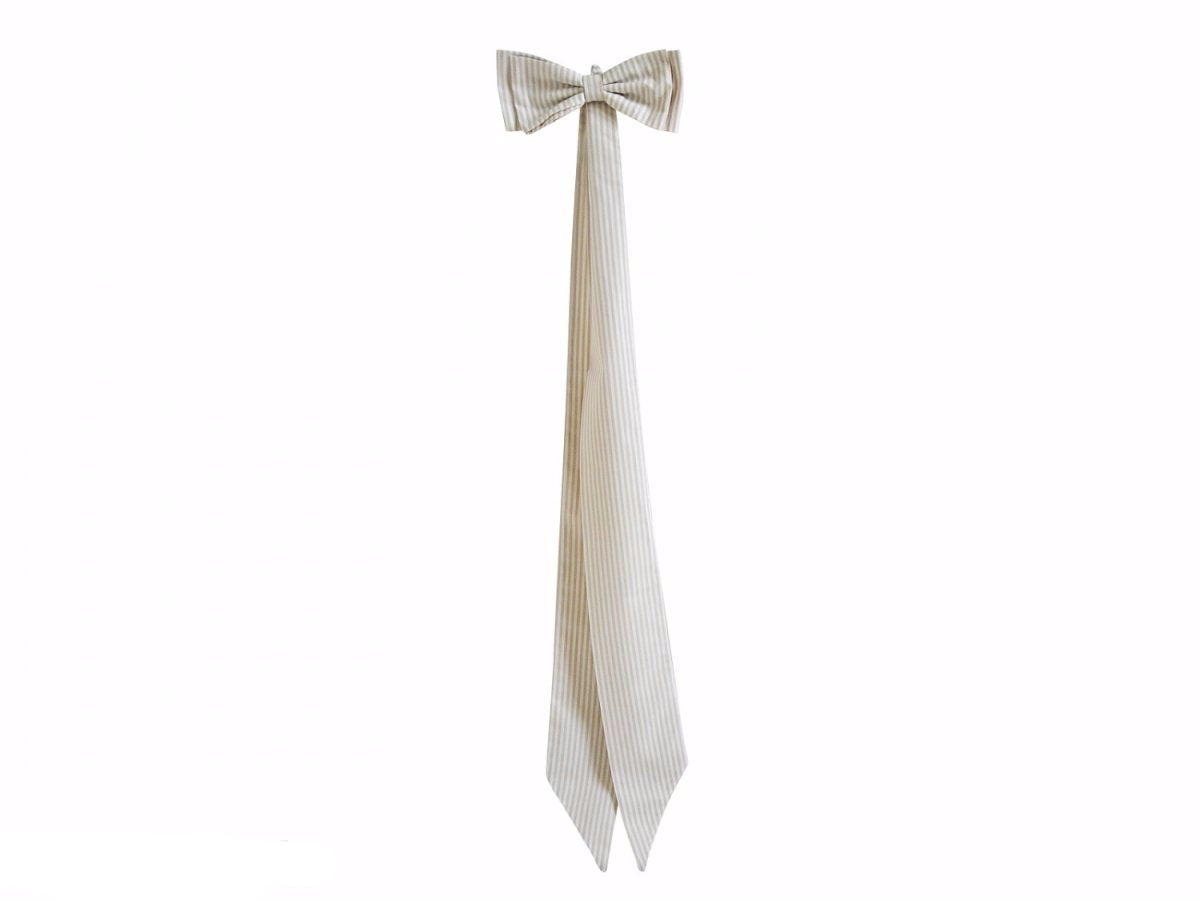 DECORATIVE BEIGE STRIPED BOW