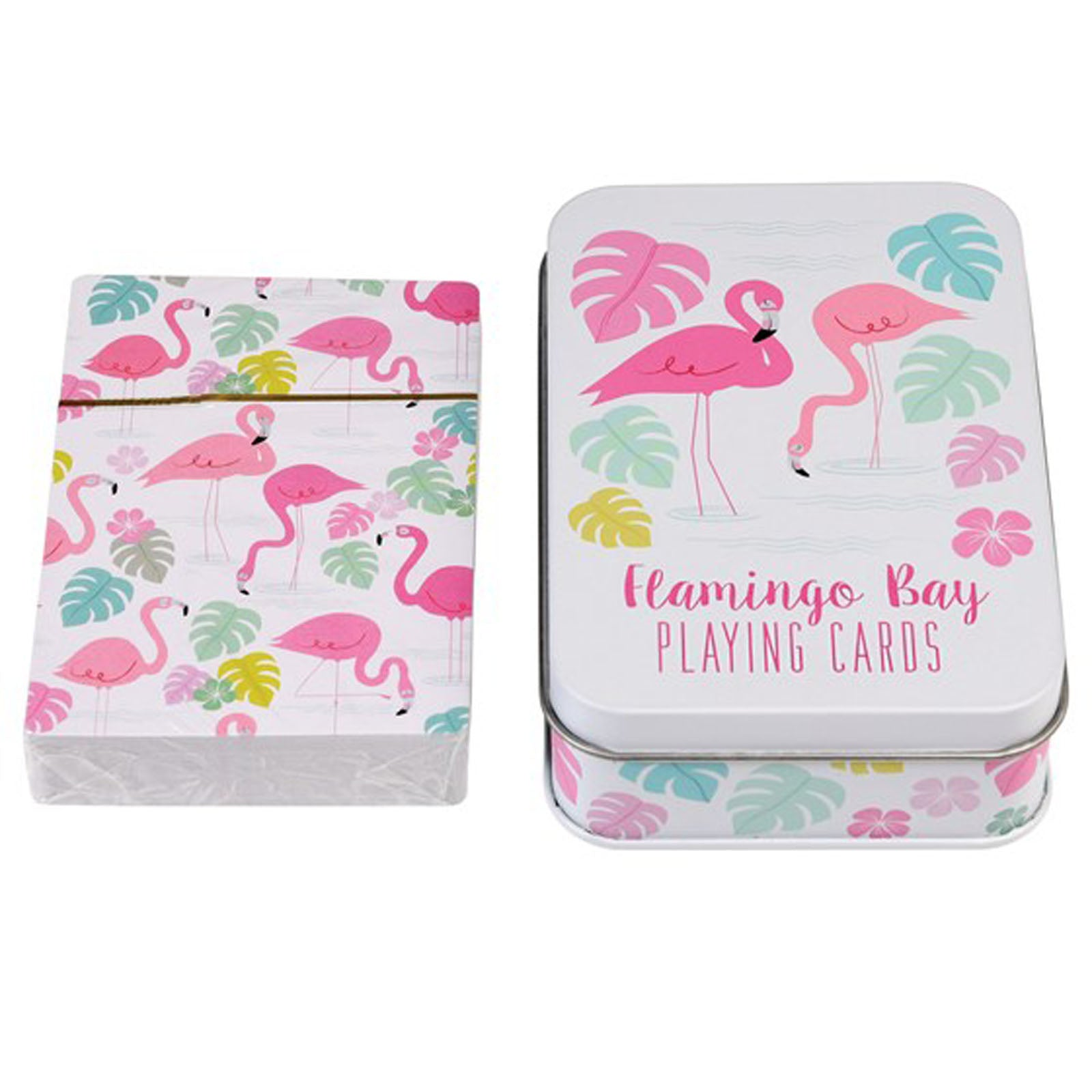 FLAMINGO BAY PLAYING CARDS IN TIN