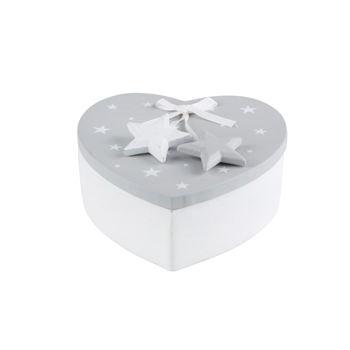 GREY & WHITE STAR HEART STORAGE BOX