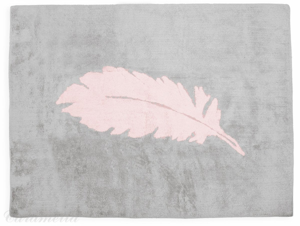 GREY CARPET WITH PINK FEATHER