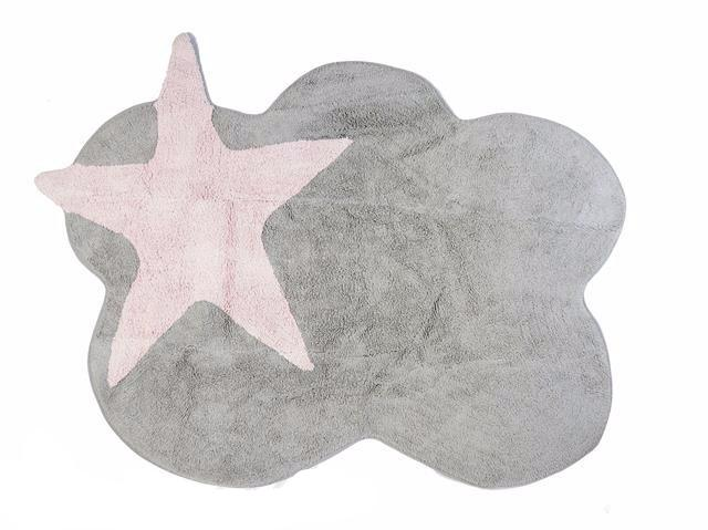 GREY CLOUD RUG WITH PINK STAR