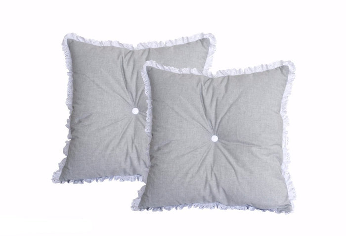 GREY PILLOW WITH LACE