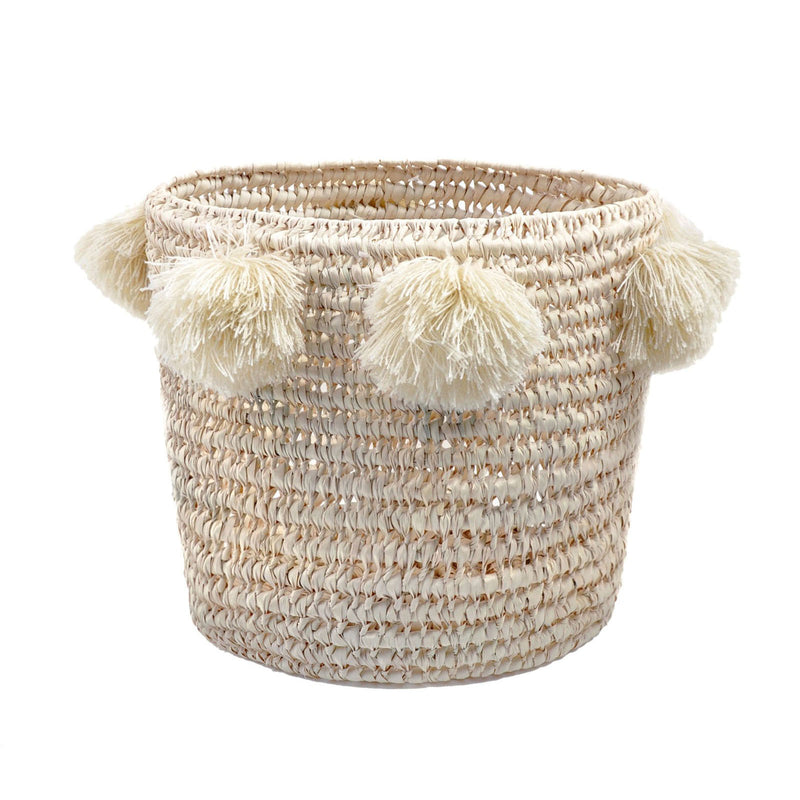 LOUIS BASKET IN NATURAL STRAW + ECRU TASSELS