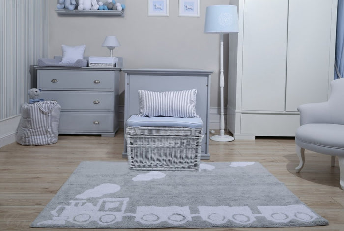 LIGHT GREY RUG WITH WHITE CHOO-CHOO TRAIN