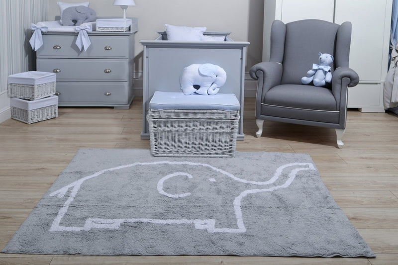 LIGHT GREY RUG WITH WHITE ELEPHANT