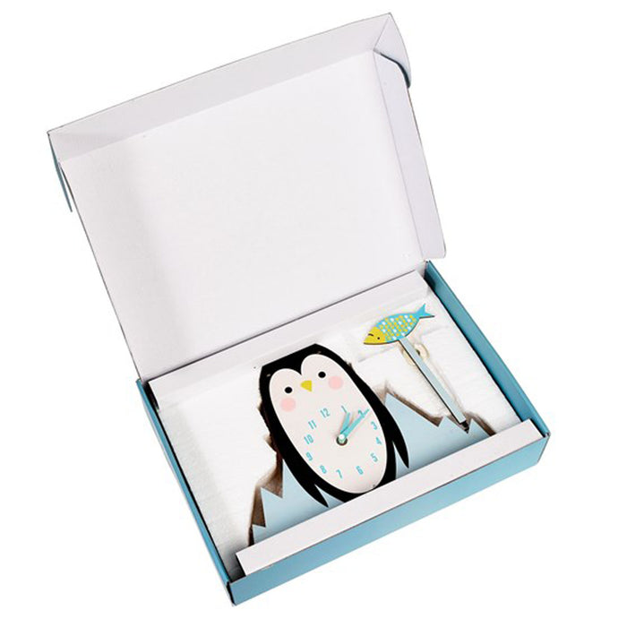 MILO THE PENGUIN WOODEN WALL CLOCK