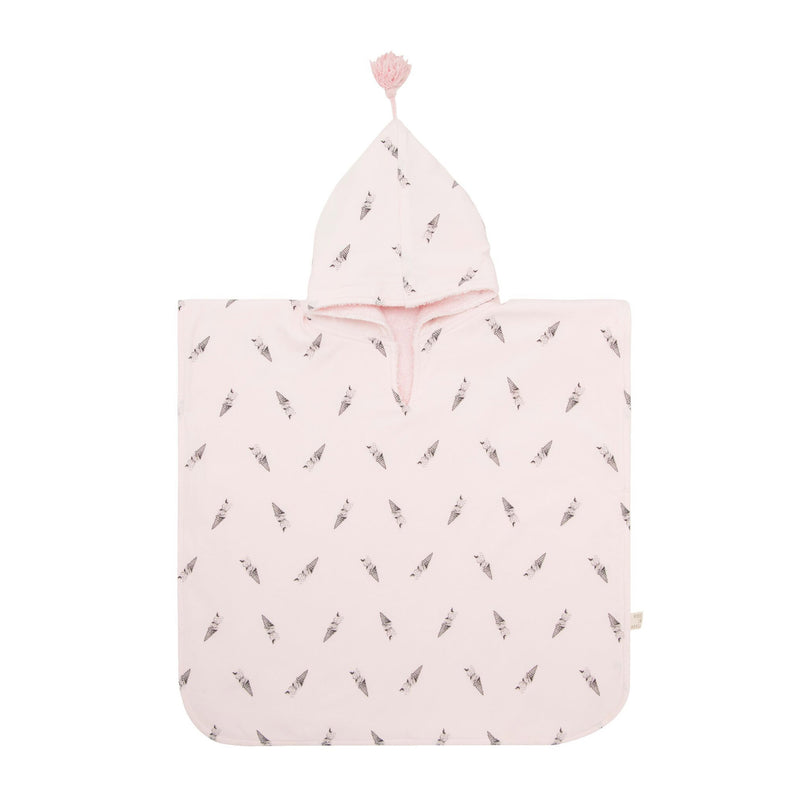 ICE CREAM PRINTED BATH PONCHO - PINK- MEDIUM