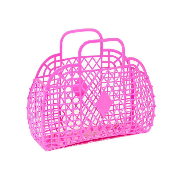 LARGE RETRO BASKET - HOT PINK