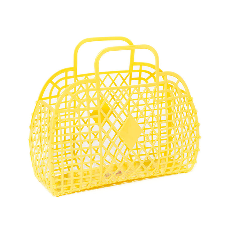 LARGE RETRO BASKET - YELLOW