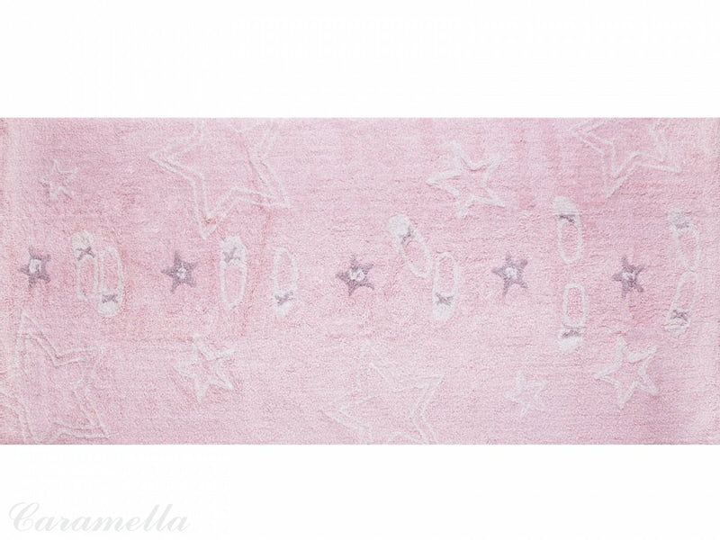 RECTANGULAR BABY PINK RUG WITH BALLET THEME