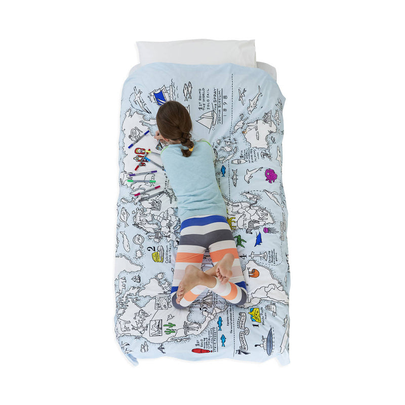 SINGLE DOODLE WORLD MAP DUVET