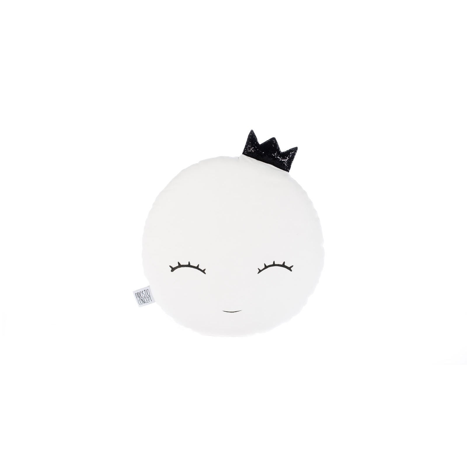 SMILING FULL MOON PILLOW WITH BLACK CROWN