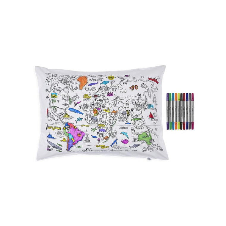 WORLD MAP DOODLE PILLOWCASE